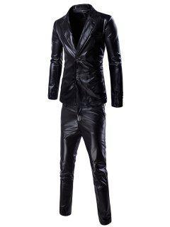 Fashionable Shinny Blazer + Pants Twinset Suits For Men - Black Xl