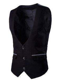 Gingham Spliced Buckle Back Single Breasted Vest For Men - Black L