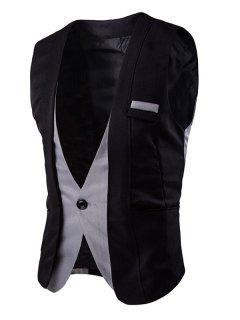 Buckle Back Color Splicing One Button Vest For Men - Black Xl
