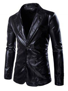 Solid Color Metallic Lapel Long Sleeve Single Breasted Blazer For Men - Black L