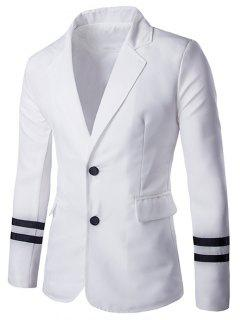 Stripe Cuffs Design Lapel Collar Long Sleeve Blazer For Men - White Xl