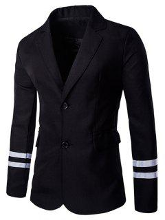 Stripe Cuffs Design Lapel Collar Long Sleeve Blazer For Men - Black M