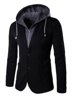 Elbow Patches Breasted Pocket Hooded Blazer For Men - Black L