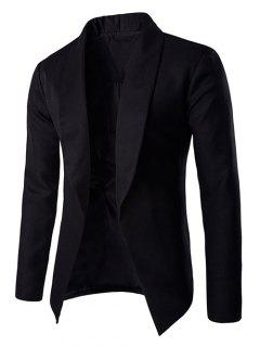 Fashionable Lapel Collar Buttonless Long Sleeve Blazer For Men - Black M