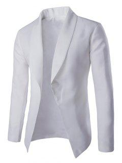 Fashionable Lapel Collar Buttonless Long Sleeve Blazer For Men - White 2xl