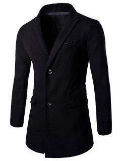 Single-Breasted Solid Color Turn-down Collar Long Sleeves Coat For Men - Black M