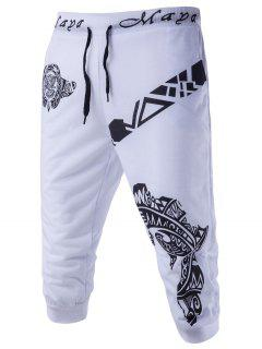 Abstract Printed Lace-Up Shorts Men Clothes - White 2xl