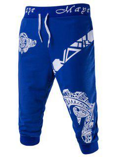Resumen Impreso De Color Sólido De Encaje Hasta Pantalones Cortos Para Los Hombres - Azul M
