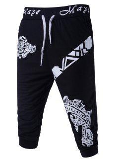 Resumen Impreso De Color Sólido De Encaje Hasta Pantalones Cortos Para Los Hombres - Negro L