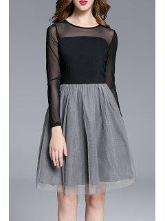 Sheer Color Block Tulle Dress - Black And Grey S
