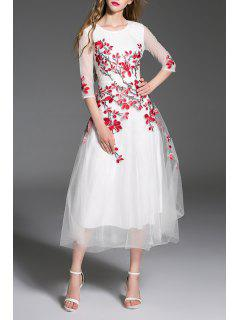 Belle Robe Brodée Tulle Maxi Evening Prom - Blanc S