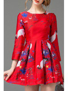 Round Neck Jacquard Fit And Flare Dress - Red L