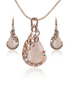 Chic Elegant Peacock Necklace Earrings - Rose Gold