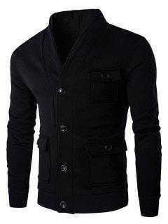 Solid Color Button Up Aufgesetzten Taschen Langarm-Sweatshirt Für Männer - Schwarz L