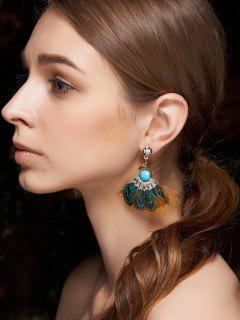 Faux Gem Feather Earrings - Blue