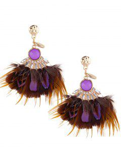 Rhinestone Feather Drop Earrings - Purple