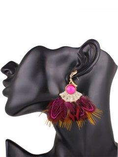 Boucles D'oreilles Décorées De Fausse Plume  - Rose Rouge