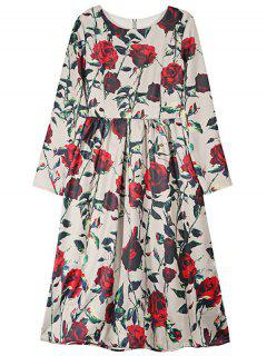 Rose Print Round Neck Long Sleeve Puffball Dress - Red S
