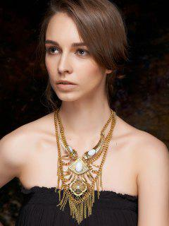 Fringed Layered Statement Necklace - Golden