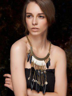 Long Feather Fringe Necklace - Black