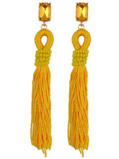 Faux Crystal Fringe Earrings - Deep Yellow