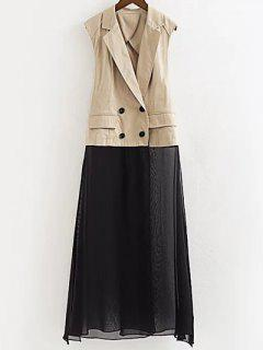Chiffon Spliced Lapel Collar Color Block Waistcoat - Light Khaki M