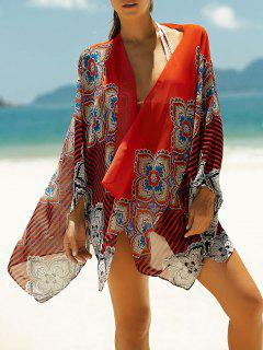 Batwing Sleeve Printed Asymmetric Cape Cover Up