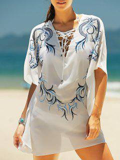 Lace Up V-Neck Imprimer Cover Up - Blanc
