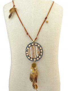 Bead Feather Necklace - Antique Brown