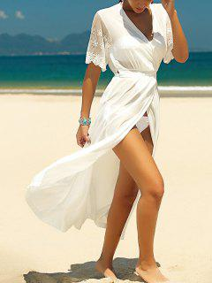 Lace Splice V Neck White Cover Up - White