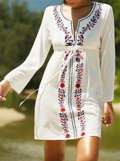 Broderie Plongeant Couverture Cou à Manches Longues Up Dress - Blanc