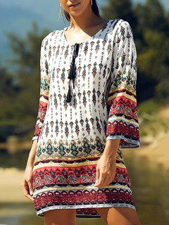 Retro Print Round Neck 3/4 Sleeve Dress - White S