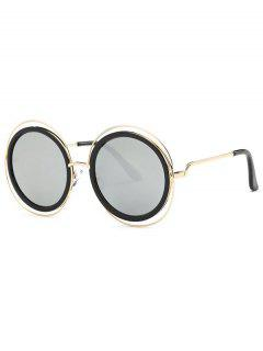 Cut Out Round Mirrored Sunglasses - Silver