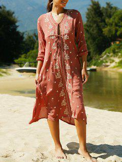V Neck 3/4 Sleeve Embroidered Ethnic Style Dress - Claret M