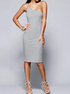 Solid Color Spaghetti Straps Convertible Sweater Dress - Light Gray S