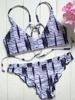 Spaghetti Straps Ombre Print Bikini Set - White S