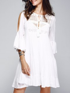 Bell Sleeve Tiered Dress With Cami Dress - White S
