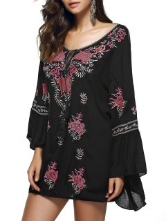 Scoop Neck Flare Sleeve Fringe Ethnic Embroidery Blouse - Black S