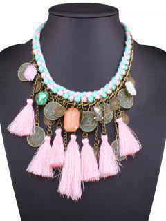 Faux Gem Coin Tassel Necklace - Pink