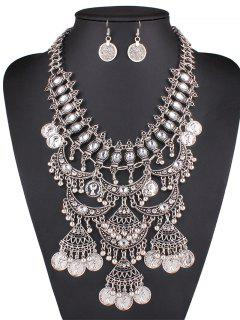 Rhinestone Fringe Necklace And Earrings - Silver