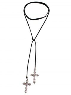 Cross Adjustable Choker Necklace - Silver