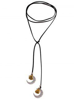 Crescent Heart Adjustable Wrap Necklace - Black