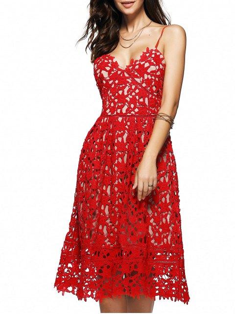 Robe mi-longue en crochet floral à bretelles spaghettis - Rouge L Mobile