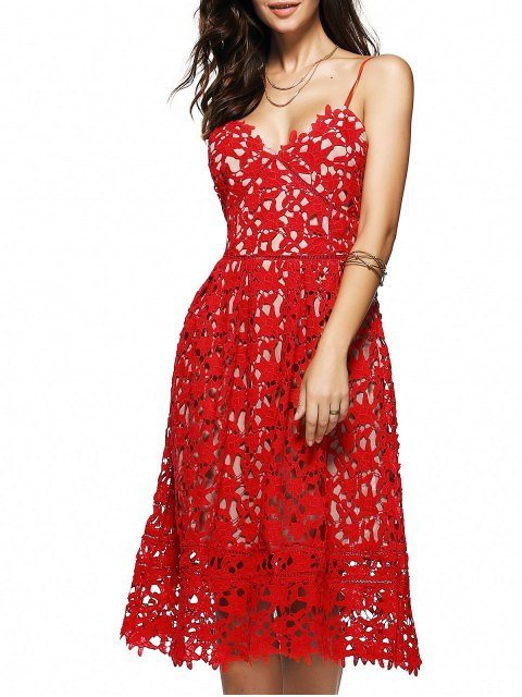 unique Cami Crochet Flower Midi Dress - RED M Mobile