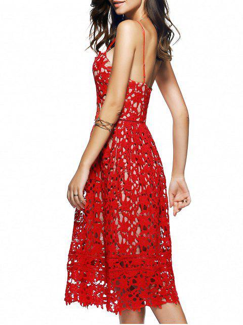 Robe mi-longue en crochet floral à bretelles spaghettis - Rouge M Mobile