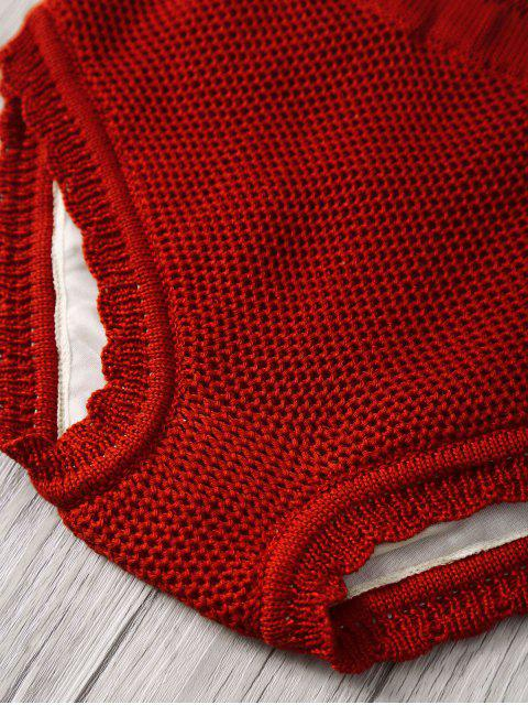 hot Crochet Halter High Waisted Bathing Suit - RED ONE SIZE(FIT SIZE XS TO M) Mobile