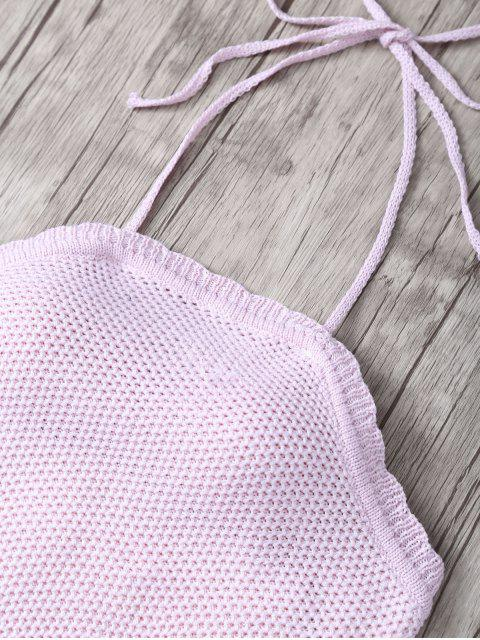 new Crochet Halter High Waisted Bathing Suit - SHALLOW PINK ONE SIZE(FIT SIZE XS TO M) Mobile