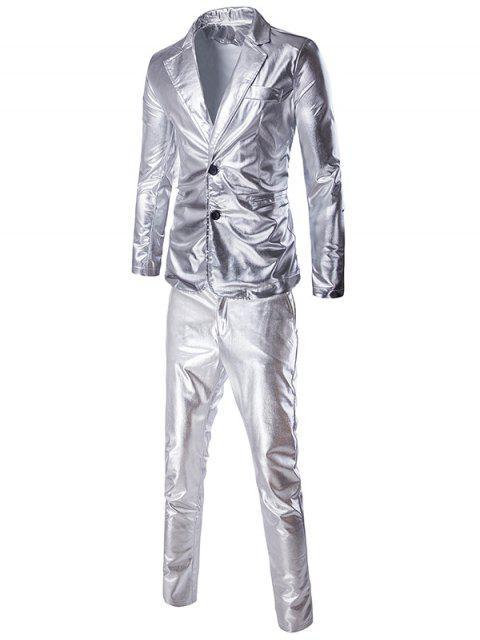 Modische Shinny Blazer + Hosen Twinset Anzüge für Männer - Silber L Mobile