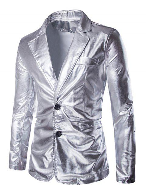online Solid Color Metallic Lapel Long Sleeve Single Breasted Blazer For Men - SILVER XL Mobile