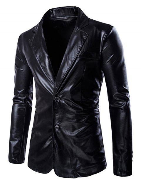 outfit Solid Color Metallic Lapel Long Sleeve Single Breasted Blazer For Men -   Mobile
